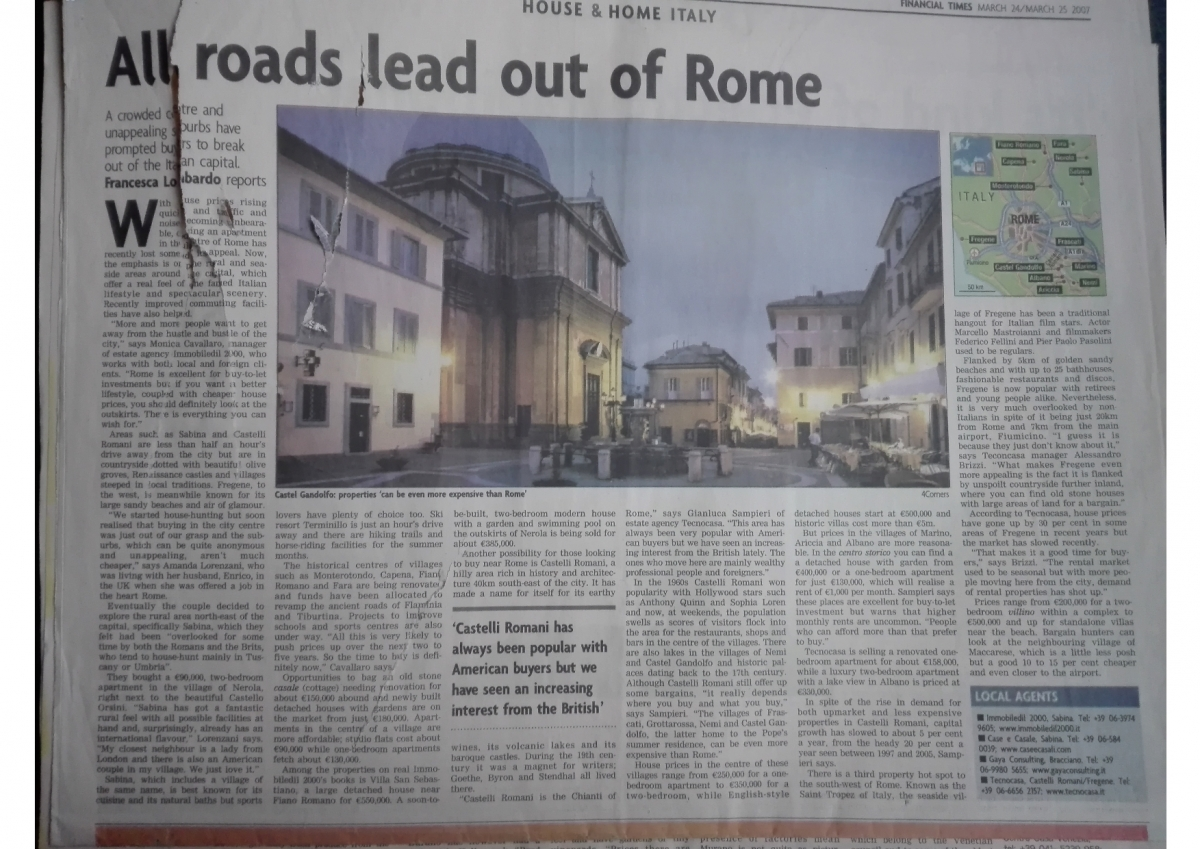 All Roads lead out of Rome, Sunday Business Post